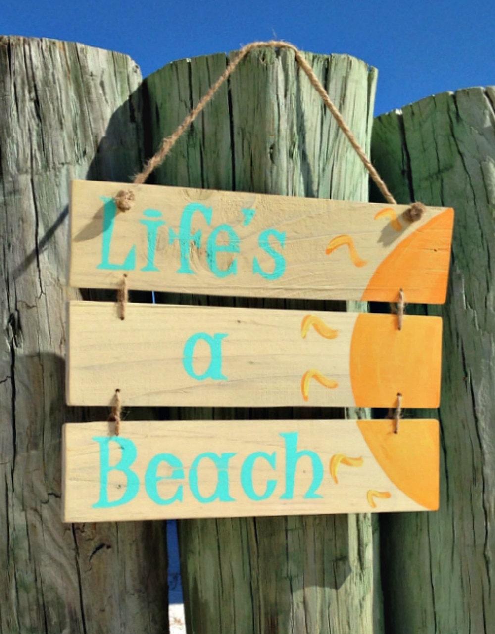 Wooden Beach Signs, Life\'s A Beach, Beach Sayings, Beach Decor ...