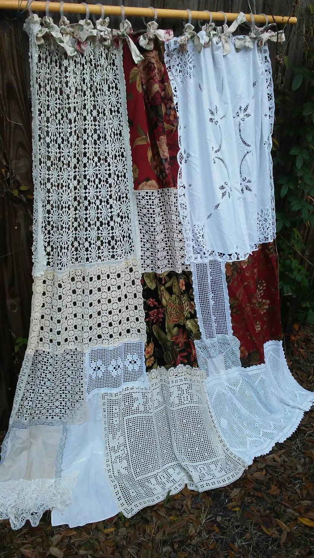 boho shower curtain vintage crochet vintage linen floral