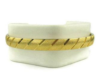 Etched Gold Tone Bangle Bracelet
