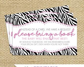 PINK & BLACK ZEBRA Baby Shower Book Request Cards