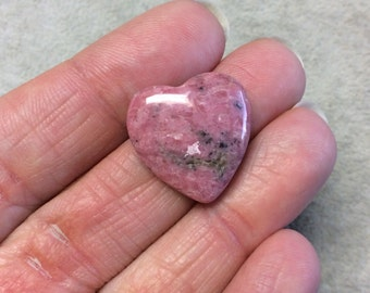 Natural Rhodonite Heart Shaped Flat Back Cabochon - Measuring 20mm x 20mm, 6mm Dome Height - ...