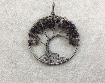"2"" (50mm) Gunmetal Plated Copper Wire Wrapped Tree of Life Focal Pendant with Smoky Quartz Chip Beads - Sold Individually/Random"