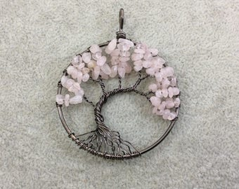 "2"" (50mm) Gunmetal Plated Copper Wire Wrapped Tree of Life Focal Pendant with Rose Quartz Chip Beads - Sold Individually/Random"