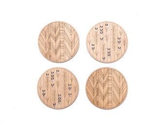 Geometric coasters, Unique coaster,  Wooden coasters, Set of natural wood drink coasters