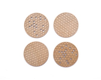 Honeycomb coaster, Set of 4 natural wood hexagon coasters