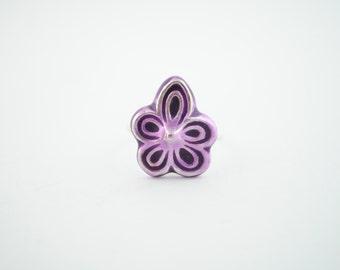 Anillo de violetas, anillo de plata, violeta de plata esmaltada, violeta esmaltada, anillo de flor, plata y esmalte