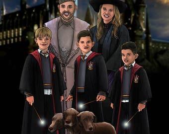 Custom Harry Potter Portrait / Harry Potter / Family / Bespoke Illustration / Hogwarts / Hermione