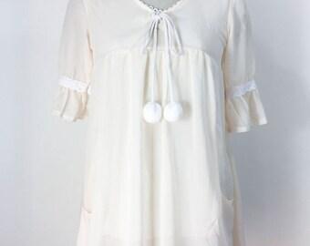 Vintage Pink Nightgown Pink Nightie Pom Pom Nightgown Pink Nylon Nightgown Front Pockets Lined 1960s Nightgown Babydoll