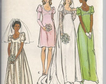 Vintage 1970's Butterick 5938Sewing Pattern: Bridal Gown and Bridesmaid Dress, Empire,   Bust 34, Boho, Hippie