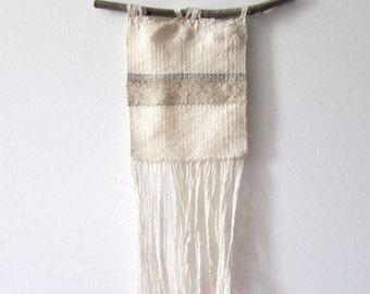 Woven Wall Hanging, weaving wall art // STRIPED WEAVING // tapestry weaving, fiber art, woven wall art, white woven wall hanging, wall art
