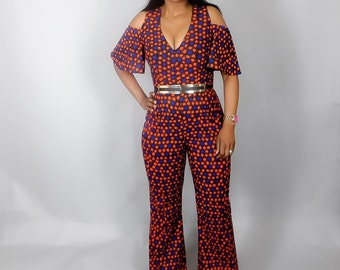 NEW IN :African print cold shoulder jumpsuit,African clothing,African wax print dress, dresses,jumpsuits,African dresses
