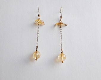 Citrine Earrings // Citrine Dangle Earrings // Gemstone Earrings Gold // Gift For Her // Minimalist Earrings / Gold Delicate Chain Earrings