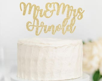 "Custom ""Mr and Mrs Last Name"" Caketopper - Last Name - Engagement // Wedding // Anniversary"
