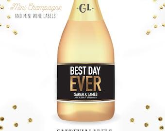 BEST DAY EVER Mini Champagne Labels, Wedding Favors, Engagement Gift, Bridal Shower Decor, Anniversary Party Favors, Bachelorette Favor