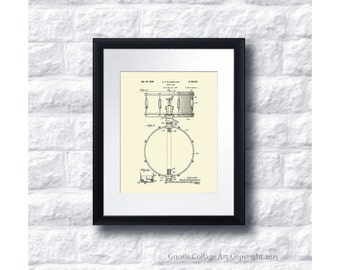 Drummer Decor no.5,  1939 Snare Drum patent print, neutral wall art, musical gear patent, gift for drummer, musician gift
