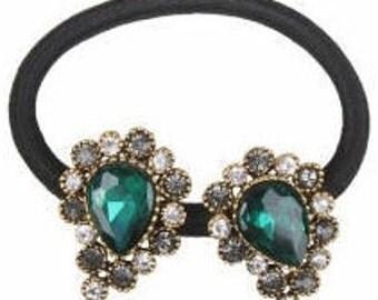 New Emerald Green CZ Crystal  Marquis & Rhinestone Ponytail Tie