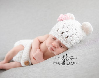 Newborn Bear Outfit, Diaper Cover, Baby Bear Hat, Baby Girl Hat, Crochet Baby Hat, Coming Home Outfit, Newborn Photo Prop, Crochet Bear Hat