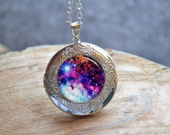 Nebula Galaxy Locket,Outer Space Necklace,Unique Science Gift,Galaxy Photo Locket,Unique Cute Nerd Accessories