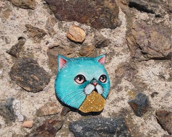 Golden glitter cat vomit original design brooch - wooden cat brooch hand cut and hand painted - gold puking white cat