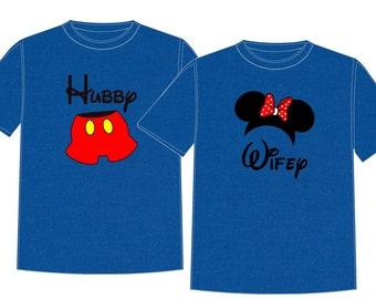 HUBBY WIFEY Disney Vacation Group Shirts
