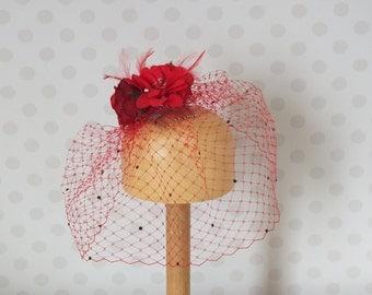Poppy Red Birdcage Veil Fascinator with Flowers Dark Siam Swarovski Crystals on Hair Comb Wedding pillbox feathers