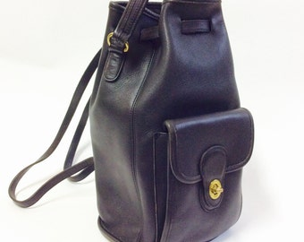 Vintage Coach bag black coach backpack with original bag Coach knapsack leather backpack leather coach purse vintage leather backpack coach