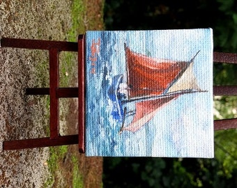 Original dollhouse oil  painting - Miniature painting - Miniature Boat Painting -  Dollhouse Miniature beach -  1 12 dollhouse wall art