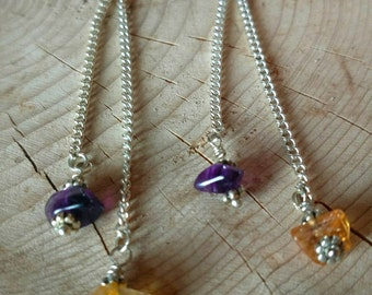Silver Amethyst & Citrine Earrings