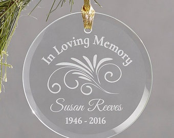 Memorial Ornament, Personalized Ornament, Memorial Engraved Ornament