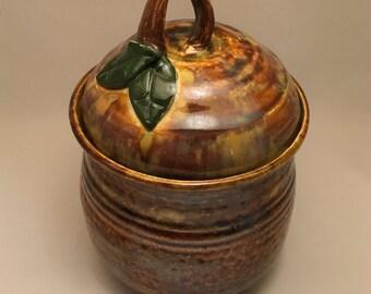 Lidded Pottery Jar, Handmade cookie jar, treat jar