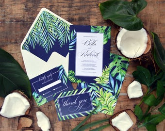 Tropical Wedding Invitation, Destination Wedding, Beach Wedding, Tropical, Invitation Set, Invitation Suite, Calligraphy, Palm Leaves