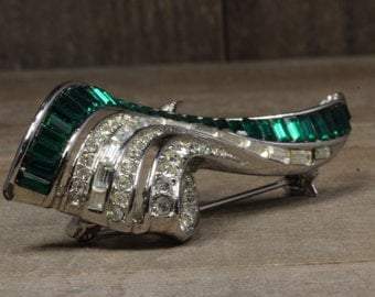 Used Silver Toned Costume Pin/Brooch With Green and White Stones
