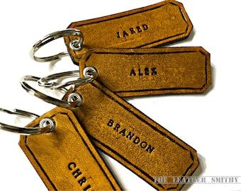 Custom Hand Tooled Leather Key Fob, Personalized Key Chain, Custom Key Chain, Personalized Key Fob