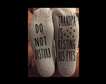 Do Not Disturb Grandpa is Resting His Eyes Gray Men's Novelty Crew Socks Fun Grandparent's Day Father's Day Christmas Birthday Gift Sz 6-12