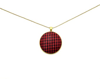 Red and black plaid fabric button necklace - button statement necklace - button necklace - plaid button necklace - pendant necklace - plaid