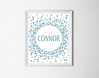 Boy Name Sign Printable Blue Gray Nursery Decor Baby Boy Nursery Wall Art Custom Name Sign Boy 1st Birthday Party Decorations Blue And Gray