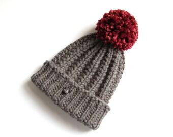 Wool Hat. Dark Grey Merino Wool HoBo Handmade mens bobble hat. Thick chunky hand knitted beanie. Large dark red pom pom. Womens wool hat