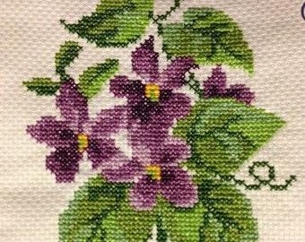 Hand-sewn Cross Stitch Art: Flower Vine