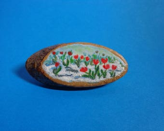Handmade handpainted original  brooch pin badge tulips landscape spring mother day gift natural wood slice.