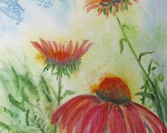 Pink Coneflowers Painting. Coneflower ORIGINAL watercolor, echinacea garden. Modern Floral Fine Art. Signed OOAK art 11x15 in. Not a print!