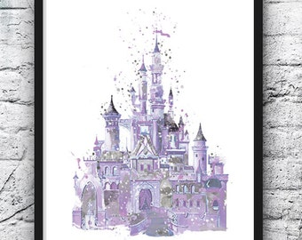 Disney Castle Watercolor Print, Castle Art, Colorful Poster, Kids Room Decor, Nursery Decor, Girls Room Decor, Wall Art, Home Decor - 568-5
