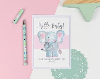 New baby elephant Luxury card - You are fearfully and wonderfully made - Baby card - Christening Card - Dedication Card - New Baby card