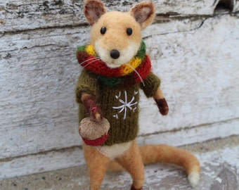 Needle felted fox, Christmas fox, Needle felted christmas animal, Christmas decoratin, Christmas animal, Winter ornament, Art doll, Eco toy