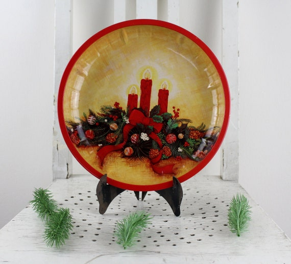 Vintage Servier plate cake plate biscuits plate Serving Bowl 70s Plate Plätzchenteller Santa Claus in a sleigh