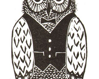 "Handmade Signed Lino Print ""Mister Owl"", for those who love Owls in Bowler Hats! By Laura Robertson."
