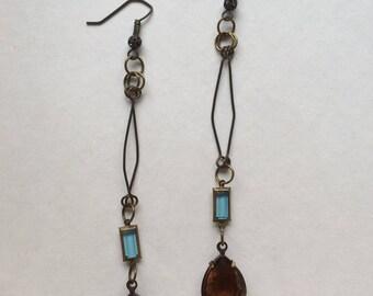 Aquamarine and Topaz Glass Earrings