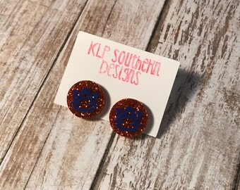 Glitter Auburn Earrings / Studs / SEC / Auburn / AU / War Eagle