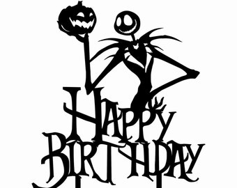 Happy Birthday Jack Skellington Nightmare Before Christmas Cake Topper