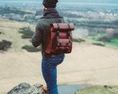 Leather Camera Bag Leather Rucksack Roll top Backpack Large Mens Travel Bag Roll Up Bag Mens Leather Laptop Bag Full Grain Leather