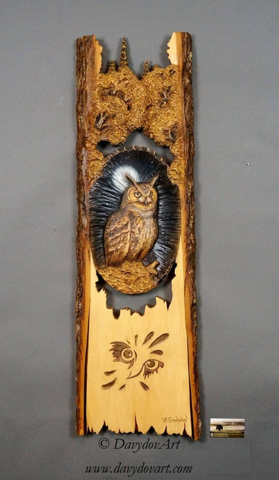 Carved wood bird wall decor